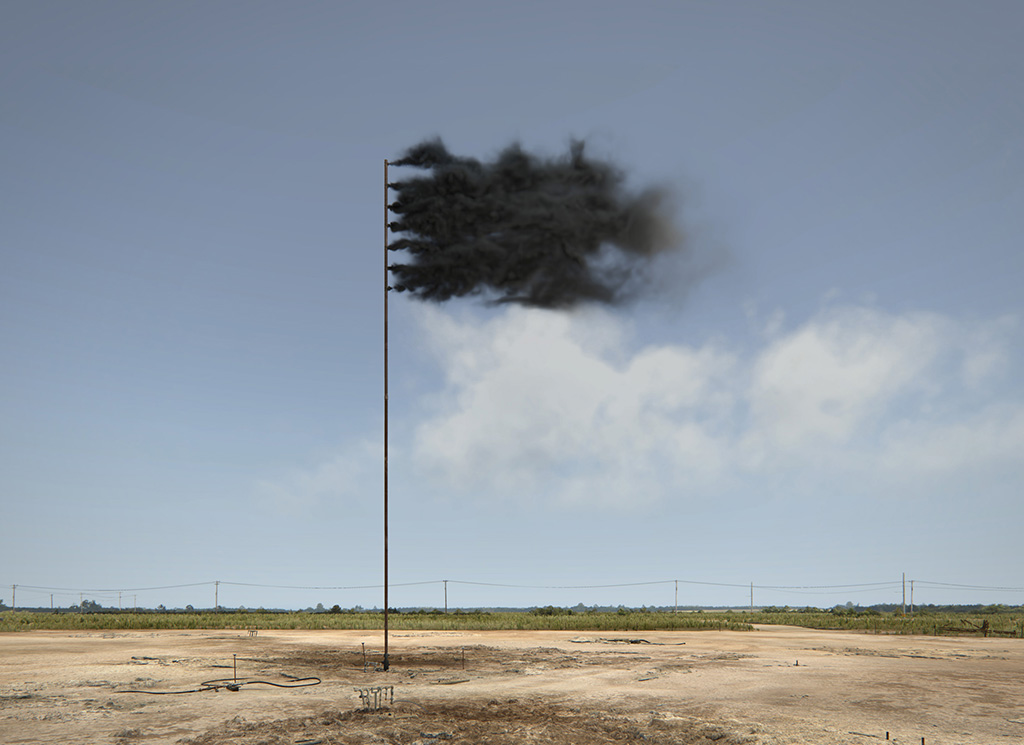 Western Flag (Spindletop, Texas), 2017. 22.4.2017, Mittags. Still der Computersimulation © John Gerrard